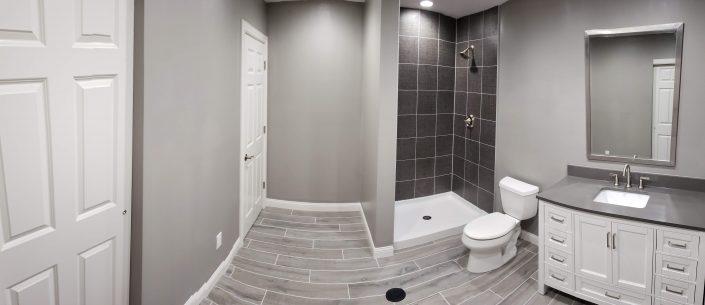 gray custom bathroom remodel
