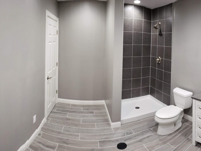 gray custom bathroom remodel